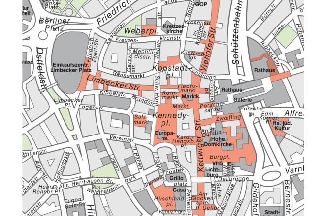 Grafik: Übersicht über Sperrzonen für E-Scooter (in rot) in der Essener Innenstadt. Grafik: Stadt Essen