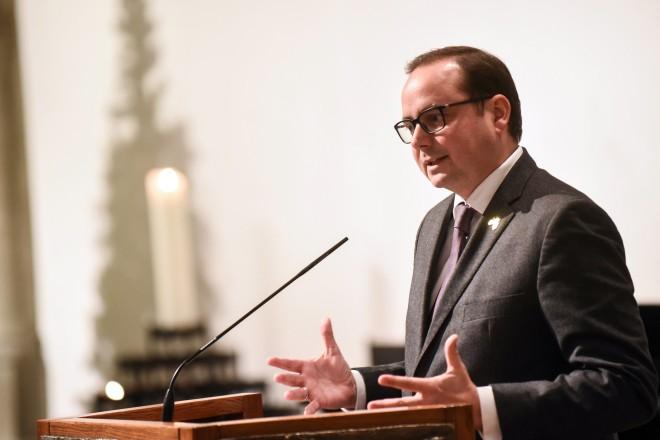 Foto: Oberbürgermeister Thomas Kufen beim Neujahrsempfang der Evangelischen Kirche in Essen.