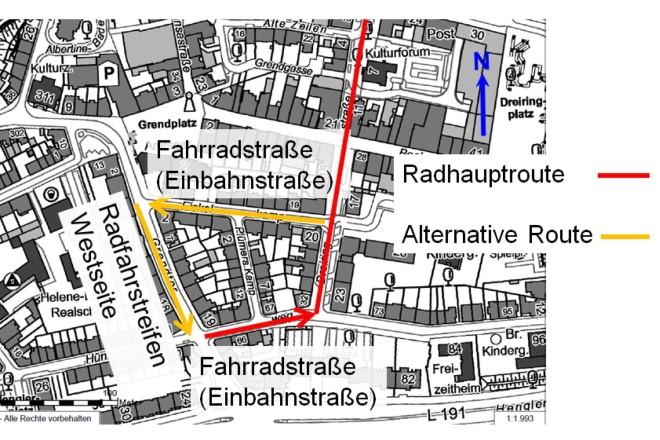 Der Kartenausschnit zeigt Anpassungen im Bereich des südlichen Startpunktes der Fahrradachse C, im Hünnighausenweg in Essen-Steele.