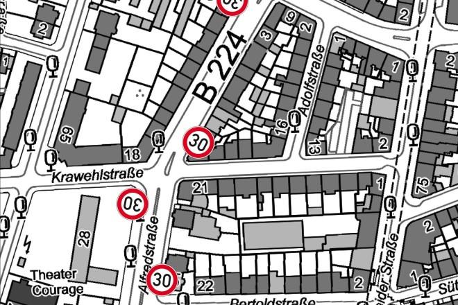 Auf der Alfredstraße wird zwischen der Bertoldstraße und Folkwangstraße wird für knapp drei Wochen Tempo 30 eingerichtet.