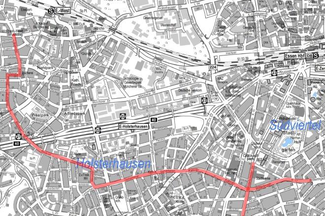 Die Karte zeigt den Verlauf der Fahrradstraßenachse A vom Südviertel nach Frohnhausen.