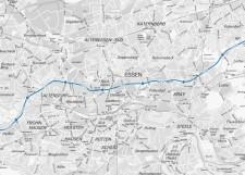 Abbilung: Geplanter Streckenverlauf des RS1 auf Essener Stadtgebiet