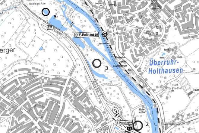 In der Heisiniger Ruhraue sollen Schutz- und Entwicklungsmaßnahmen ergriffen werden: Zaunerrichtung an der Wuppertaler Straße (1), Zaunerrichtung an der Straße Rotemühle (2), Entwicklung von Grünland (3), Nachpflanzung von Auenwald (4) und die Entschlammung eines Stillgewässers (5).