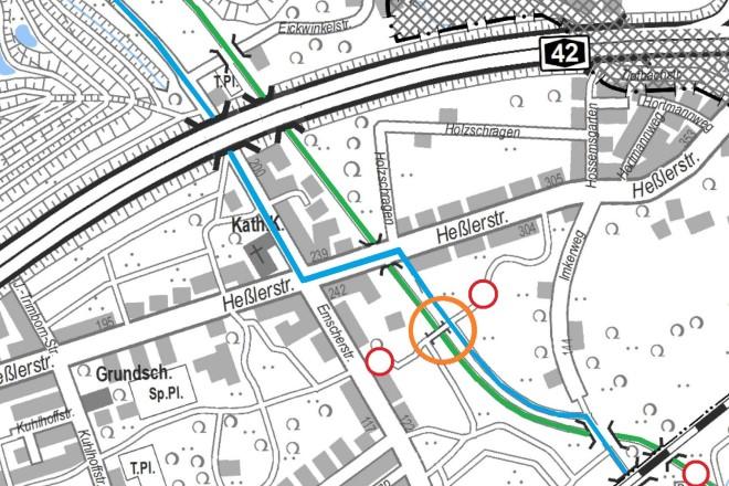 Der Nordsternweg (grün) muss zeitweise gesperrt werden. Eine Umleitung (blau) wird entsprechend eingerichtet. Zudem bleibt der Weg über die Brücke für die Zeit der Sanierung gesperrt.