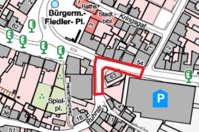 Karte: Gesperrter Abschnitt im Zuge der Sanierung der Kettwiger Altstadt