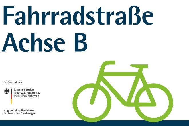 Logo zur Fahrradstraße Achse B
