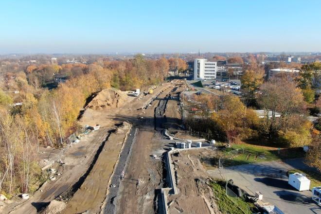 Aufnahme des dritten Bauabschnitts mit Blick in Richtung Schönscheidtstraße November 2018.