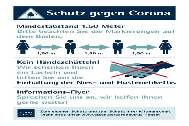 Ein Plakat informiert auf den Wochenmärkten über die geltenden Regeln in Zeiten der Corona-Pandemie.