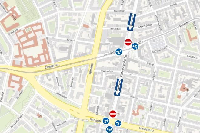 Der Plan zeigt die Regelungen, die zu Zeiten der Bauarbeiten auf der Rüttenscheider Straße gelten.