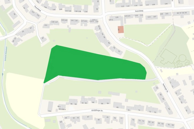 Karte: Auf einer Fläche von 19.800 Quadratmetern entsteht auf dem Gelände des ehemaligen Sportplatzes an der Hamburger Straße in Essen-Frohnhausen ein neuer Wald.