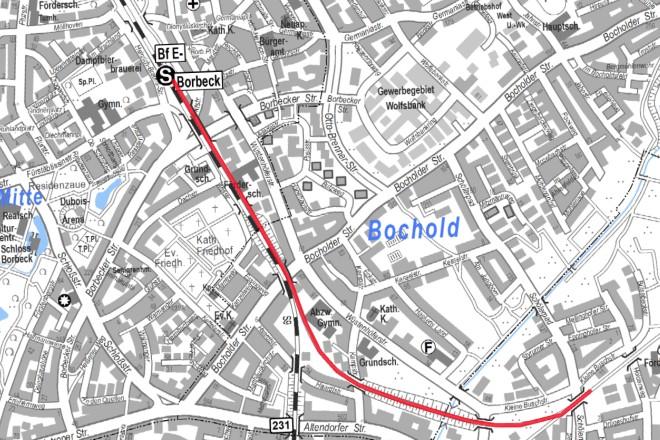 Karte: Die Radverbindung vom Bahnhof Borbeck bis zur Anbindung an die Rheinische Bahn in Altendorf soll asphaltiert werden.