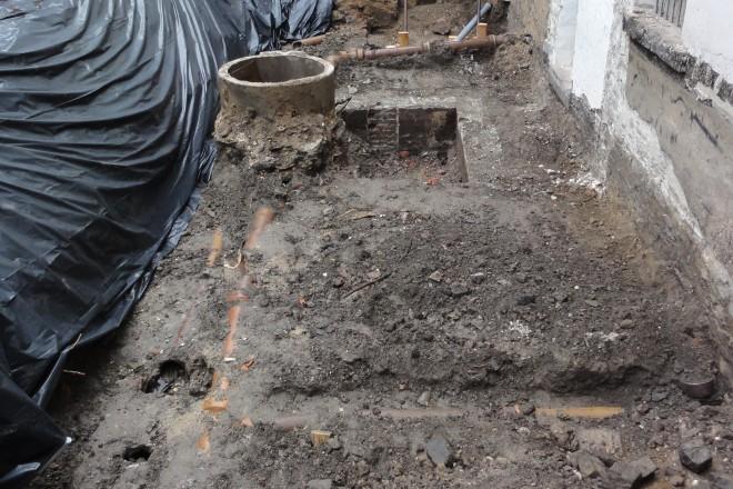 Blick in die Baugrube in Werden.