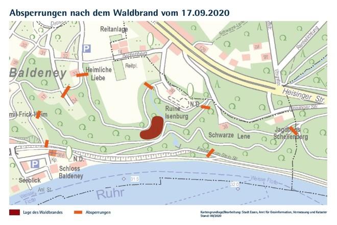 Karte: Karte des Schellenberger Waldes mit eingezeichneten Sperrungen.
