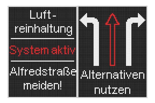 Grafik: Beispielhafte Visualisierung der beiden unterschiedlichen Abbildungen, die bei aktiver Pförtnerung im Wechsel angezeigt werden.