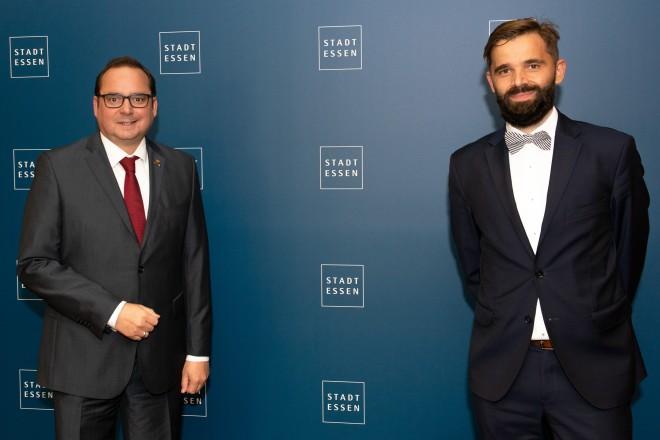 Oberbürgermeister Thomas Kufen begrüßte den polnischen Generalkonsul Jakub Wawrzyniak im Essener Rathaus.