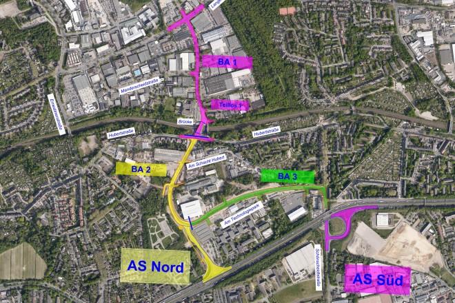 Karte: Das Luftbild zeigt die einzelnen Bauabschnitte der Gesamtmaßnahme.