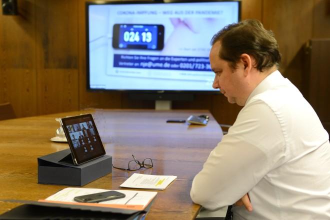 Oberbürgermeister Thomas Kufen nahm am digitalen Neujahrsempfang der Universitätsmedizin teil.