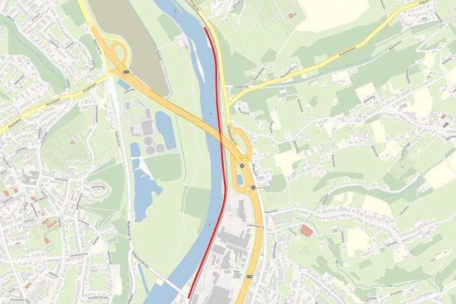 Karte: Am östlichen Ruhrufer soll entlang der Bahntrasse der S9 der neue Rad- und Gehweg entstehen.