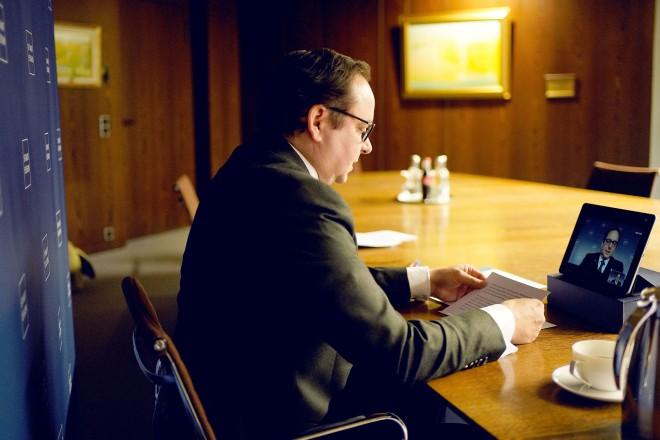 Oberbürgermeister Thomas Kufen bei einer Videokonferenz.