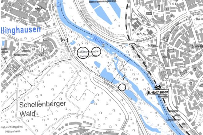In diesen drei gekennzeichneten Bereichen erfolgen Auenwalderweiterungen in der Heisinger Ruhraue.