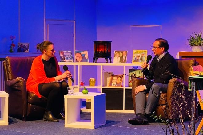 Oberbürgermeister Thomas Kufen im Gespräch mit Moderatorin Maren Kockskämper.
