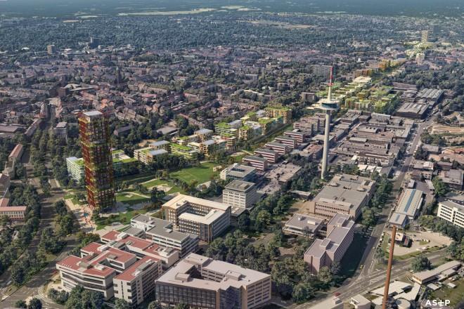 Das geplante Olympische und Paralympische Dorf auf dem Deckel der A40 aus der Vogelperspektive.