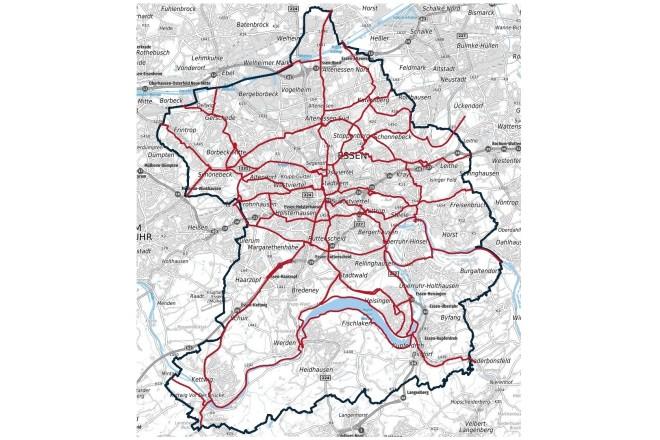 Das Radverkehrshauptroutennetz (rot markiert) der Stadt Essen hat eine Länge von über 200 Kilometern.