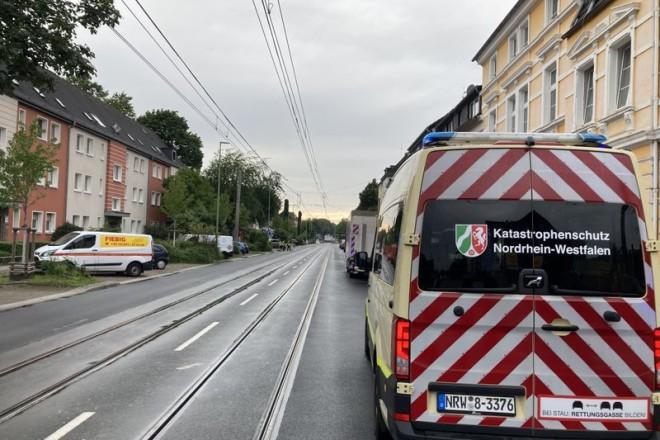 Foto: Die Steeler Straße wurde während der Evakuierung gesperrt.
