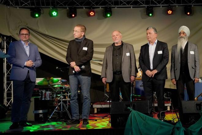 Eröffnung des Festes der Arche Noah 2021 (v.l.n.r.):Oberbürgermeister Thomas Kufen, Markus Tiefensee, Axel Rademacher, Muhammet Balaban, Mohinder Singh Nagpal, Willi Overbeck und Carsten Keller.