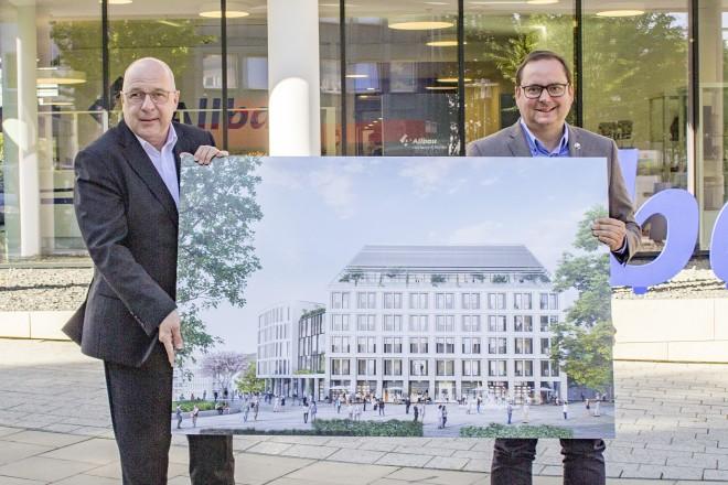 Oberbürgermeister Thomas Kufen (links) und Allbau-Geschäftsführer Dirk Miklikowski freuen sich über die Neubaupläne.