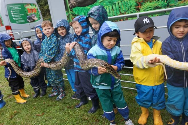 """Den Schlangen """"Schneeflöckchen"""" und """"Willi, der Würger"""" durften die Kinder ganz nah kommen."""
