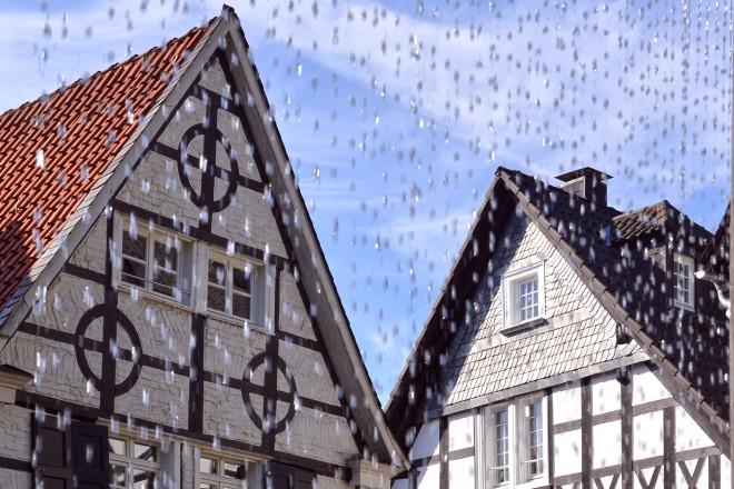 Kettwiger Altstadt. Tuchmacherplatz mit Weberbrunnen.