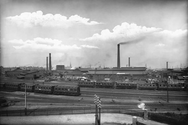 Blechwalzwerk Schulz-Knaudt von Süden, m. Bahngleisen, 1912-14