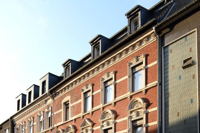 Ostviertel Häuserzeile in der Flashoffstraße