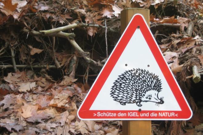 Schild: Schütze den Igel