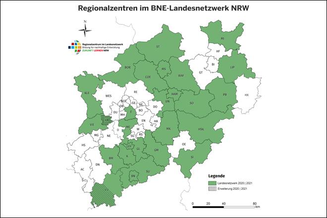 Regionalzentren im BNE-Landesnetzwerk NRW